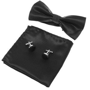 Other - Black bow tie, pocket square, cuff link 3 pc set